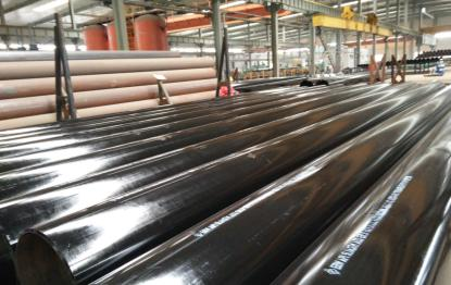 3000 ton ASTM A53GrB LSAW pipe with black paint for resistance corrosion